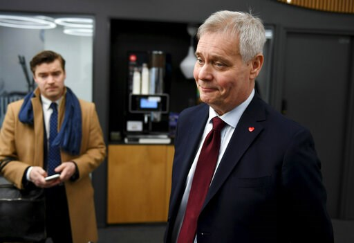 (Antti Aimo-Koivisto/Lehtikuva via AP). Social Democratic leader Party Antti Rinne speaks to the media at the Finnish Broadcasting Company Yle studios in Helsinki, Finland Monday morning, April 15, 2019.  Results from Finland's parliamentary election i...