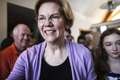 (AP Photo/ Cheryl Senter). Sen. Elizabeth Warren D-Mass., arrives at the home of Ann Garland in Lebanon, N.H. Saturday, April 13, 2019: