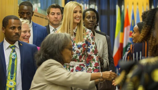 (AP Photo/Mulugeta Ayene). Ivanka Trump, the US president's daughter and senior advisor, center, arrives to attend the African Women's Empowerment Dialogue in Addis Ababa, Ethiopia, at the United Nations Economic Commission for Africa (UNECA), Monday A...