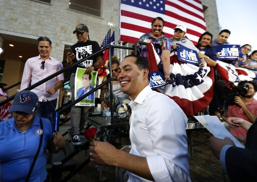 (AP Photo/Eric Gay). Julian Castro, a 2020 Democratic presidential candidate, greets supporters during a rally in San Antonio, Wednesday, April 10, 2019.