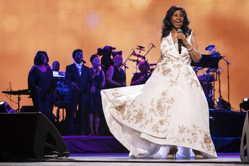 """(Photo by Charles Sykes/Invision/AP, File). FILE- In this April 19, 2017, file photo, Aretha Franklin performs at the world premiere of """"Clive Davis: The Soundtrack of Our Lives"""" during the 2017 Tribeca Film Festival in New York. Franklin is still gett..."""