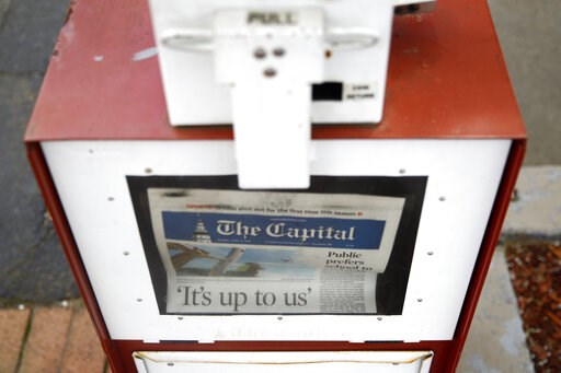 (AP Photo/Patrick Semansky). A copy of the day's Capital Gazette newspaper rests in a newsstand, Monday, April 15, 2019, in Annapolis, Md. The Pulitzer Prize board awarded the Capital Gazette a special citation Monday for their response to a 2018 shoot...
