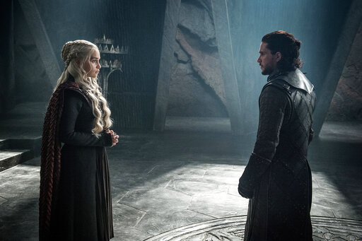 "(Helen Sloan/Courtesy of HBO via AP). This photo provided by HBO shows Emilia Clarke as Daenerys Targaryen and Kit Harington as Jon Snow in a scene from HBO's ""Game of Thrones.""  The final season premieres on Sunday."