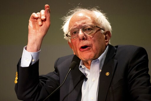 (Christopher Dolan/Times-Tribune via AP). Presidential candidate and U.S. Senator Bernie Sanders (I-VT) speaks to a gathering of the Pennsylvania Association of Staff Nurses and Allied Professionals at Mohegan Sun Pocono in Plains Twp., Pa. on Monday, ...