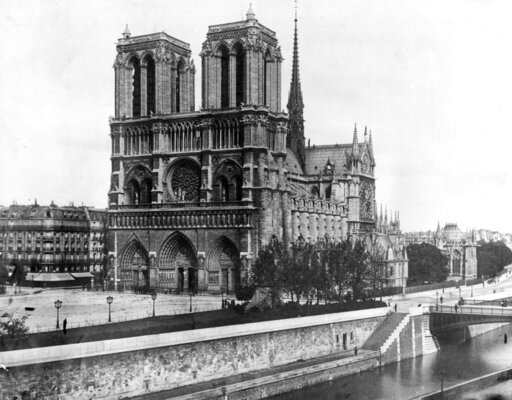 (AP Photo/File). FILE - This 1911, file photo shows the Notre Dame Cathedral, on the island called Ile de la Cite in Paris. Art experts around the world reacted with horror to news of the fire that ravaged cathedral on Monday, April 15, 2019. One shell...