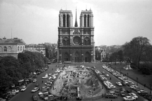 (AP Photo/File). FILE - This April 18, 1967, file photo, shows the Notre Dame Cathedral in Paris. Art experts around the world reacted with horror to news of the fire that ravaged cathedral on Monday, April 15, 2019. One shell-shocked art expert is cal...