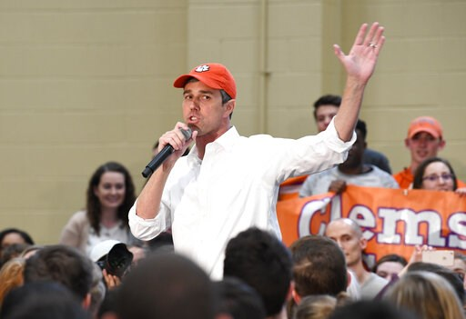 (AP Photo/Meg Kinnard). Former Texas Congressman Beto O'Rourke speaks to students at Clemson University in Clemson, S.C., Sunday, April 14, 2019. O'Rourke is wrapping up a three-day tour of South Carolina, which holds the first presidential primary vot...