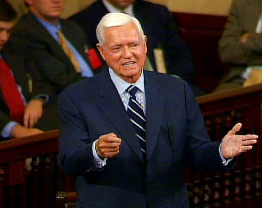 (AP Photo/APTN, File). FILE - In this Nov. 16, 2004 file photo, Sen. Ernest ''Fritz'' Hollings, D-S.C., who is retiring in January, addresses the Senate  on Capitol Hill in Washington, in this image from video.  Hollings, a moderate six-term Democrat w...