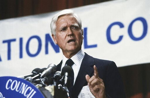 (AP Photo/File). FILE - This July 20, 1983 file photo shows Senator Ernest F. Hollings (D-S.C.) in Washington, DC. Hollings, a moderate six-term Democrat who made an unsuccessful bid for the presidency in 1984, has died. He was 97. Family spokesman And...