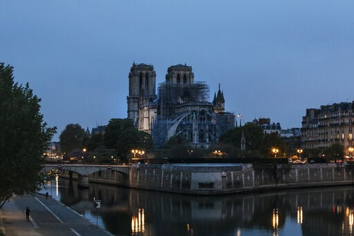 (AP Photo/Kamil Zihnioglu). The Notre Dame cathedral is seen after the fire in Paris, Tuesday, April 16, 2019. A catastrophic fire engulfed the upper reaches of Paris' soaring Notre Dame Cathedral as it was undergoing renovations Monday, threatening on...
