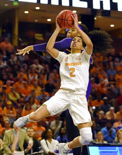 (AP Photo/Richard Shiro, File). FILE - In this March 7, 2019, file photo, Tennessee's Evina Westbrook (2) shoots in front of LSU's Jalaysha Thomas during the second half of an NCAA college basketball game at the Southeastern Conference women's tourname...