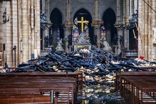 (Christophe Petit Tesson, Pool via AP). A hole is seen in the dome inside Notre Dame cathedral in Paris, Tuesday, April 16, 2019. Firefighters declared success Tuesday in a more than 12-hour battle to extinguish an inferno engulfing Paris' iconic Notre...
