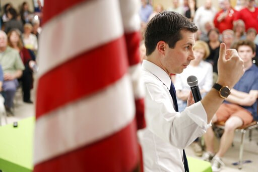 (AP Photo/Charlie Neibergall). 2020 Democratic presidential candidate South Bend Mayor Pete Buttigieg speaks during a town hall meeting, Tuesday, April 16, 2019, in Fort Dodge, Iowa.