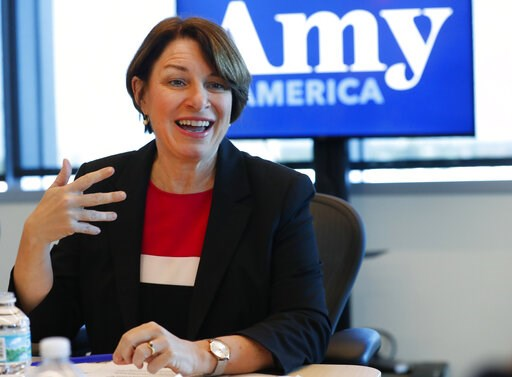 (AP Photo/Wilfredo Lee). Democratic presidential candidate Amy Klobuchar speaks during a roundtable discussion on health care, Tuesday, April 16, 2019, in Miami. Klobuchar met with local medical professionals and advocates to talk about the cost of pre...