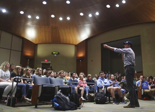 (Zack Wajsgras/The Daily Progress via AP). Presidential candidate Beto O'Rourke speaks to Virginia students in Nau Hall Room 101 during his last stop on a tour which saw him visit multiple cities in the state Tuesday, April 16, 2019, in Charlottesville...