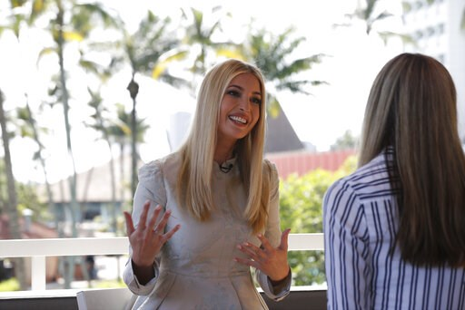 (AP Photo/Jacquelyn Martin). White House senior adviser Ivanka Trump speaks during an interview with The Associated Press, Wednesday April 17, 2019, in Abidjan, Ivory Coast, where Trump is promoting a White House global economic program for women.