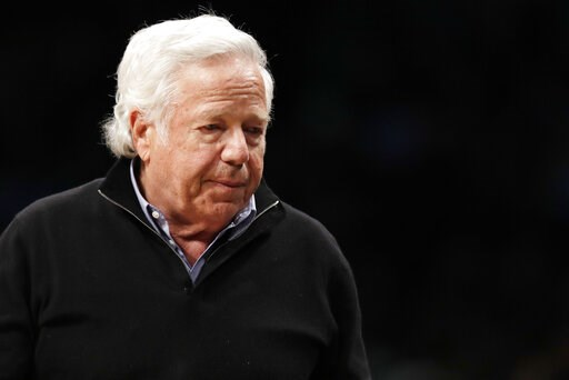 (AP Photo/Kathy Willens, File). FILE - In this April 10, 2019, file photo, New England Patriots owner Robert Kraft leaves his seat during an NBA basketball game between the Brooklyn Nets and the Miami Heat, in New York. Prosecutors intend to release un...