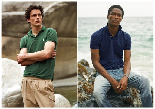 (Ralph Lauren via AP). This combination of photos released by Ralph Lauren shows Polo shirts made from recycled plastic bottles. Each shirt is made from an average of 12 bottles collected in Taiwan, where the Polos are made, in partnership with an orga...