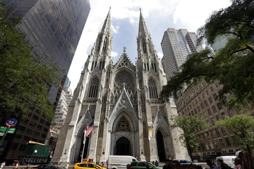 (AP Photo/Richard Drew). This Sept. 6, 2018, photo shows St. Patrick's Cathedral in New York. A New Jersey man has been arrested outside the cathedral with two jugs of gasoline. Police say church personnel stopped the 37-year-old man from entering the ...