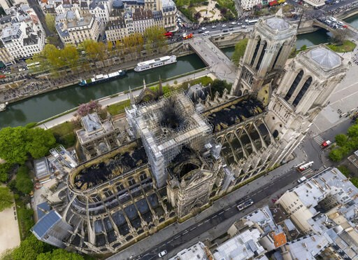 (Gigarama.ru via AP). An image made available by Gigarama.ru on Wednesday April 17, 2019 shows an aerial shot of the fire damage to Notre Dame cathedral in Paris on Tuesday April 16. Nearly $1 billion has already poured in from ordinary worshippers and...