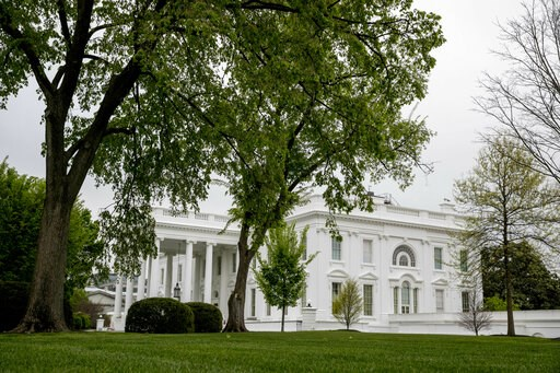 (AP Photo/Andrew Harnik). The White House, Thursday, April 18, 2019, in Washington.