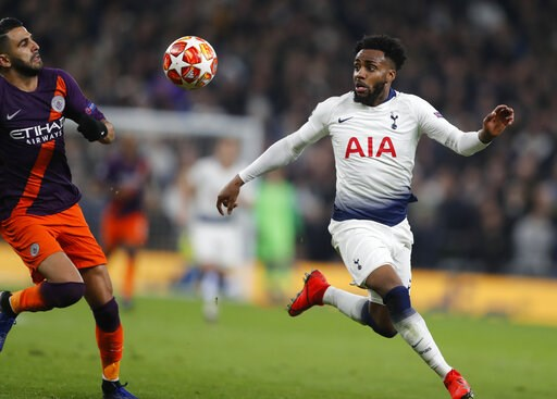 (AP Photo/Frank Augstein). Manchester City's Riyad Mahrez, left, challenges for the ball with Tottenham's Danny Rose during the Champions League, round of 8, first-leg soccer match between Tottenham Hotspur and Manchester City at the Tottenham Hotspur ...