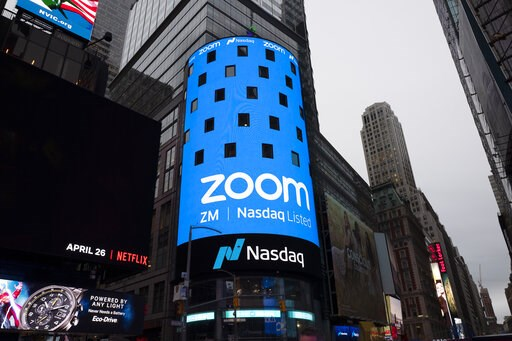(AP Photo/Mark Lennihan). Nasdaq is ready for the Zoom IPO, Thursday, April 18, 2019 in New York. The videoconferencing company is headquartered in San Jose, California.