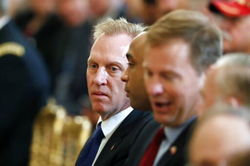 (AP Photo/Pablo Martinez Monsivais). Acting Defense Secretary Patrick Shanahan is seated before a Wounded Warrior Project Soldier Ride event in the East Room of the White House, Thursday, April 18, 2019, in Washington.
