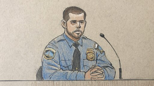 (Cedric Hohnstadt via AP). This courtroom sketch depicts Minneapolis police officer Matthew Harrity as he testifies Thursday, April 18, 2019, in Minneapolis, Minn., during the murder trial of former Minneapolis police officer Mohamed Noor, his former p...