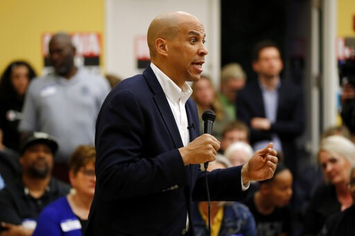 (AP Photo/Charlie Neibergall). Democratic presidential candidate Sen. Cory Booker speaks during an Iowa Democratic Party Black Caucus Reception, Tuesday, April 16, 2019, in Des Moines, Iowa.