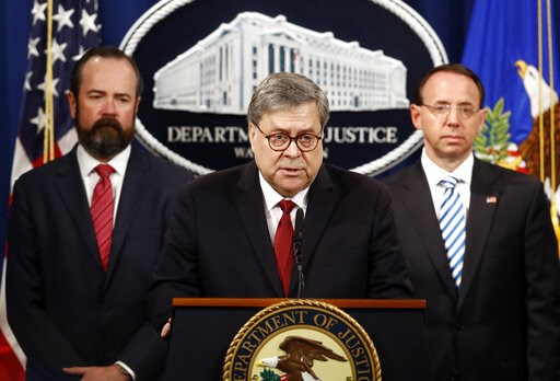(AP Photo/Patrick Semansky). Attorney General William Barr speaks alongside Deputy Attorney General Rod Rosenstein, right, and acting Principal Associate Deputy Attorney General Edward O'Callaghan, left, about the release of a redacted version of speci...