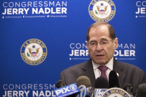 (AP Photo/Mary Altaffer). U.S. Rep. Jerrold Nadler, D-N.Y., chair of the House Judiciary Committee, speaks during a news conference, Thursday, April 18, 2019, in New York.