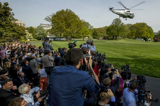 (AP Photo/Andrew Harnik). Marine One with President Donald Trump aboard, departs the South Lawn of the White House, Thursday, April 18, 2019, for a short trip to Andrews Air Force Base, Md. President Trump is traveling to his Mar-a-lago estate to spend...