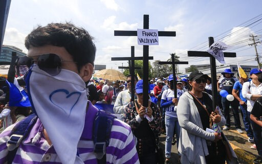(AP Photo/Alfredo Zuniga). Anti-government protesters join a Stations of the Cross procession on Good Friday, carrying signs demanding the release of political prisoners in Managua, Nicaragua, Friday, April 19, 2019. Good Friday religious processions i...