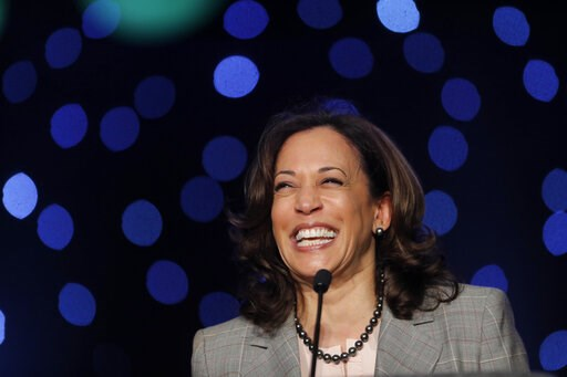 (AP Photo/Gerald Herbert). Democratic presidential candidate Sen. Kamala Harris, D-Calif., speaks at the Alpha Kappa Alpha Sorority South Central Regional Conference in New Orleans, Friday, April 19, 2019.  Harris is tapping into a network of historica...