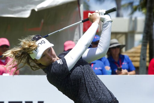 (Craig T. Kojima/Honolulu Star-Advertiser via AP). Brooke Henderson tees off on first hole during the third round of the LPGA Tour's Lotte Championship golf tournament Friday, April 19, 2019, in Kapolei, Hawaii.