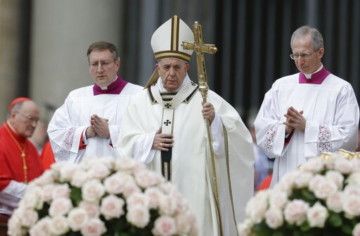 (AP Photo/Andrew Medichini). Pope Francis celebrates Easter Mass in St. Peter's Square at the Vatican, Sunday, April 21, 2019.