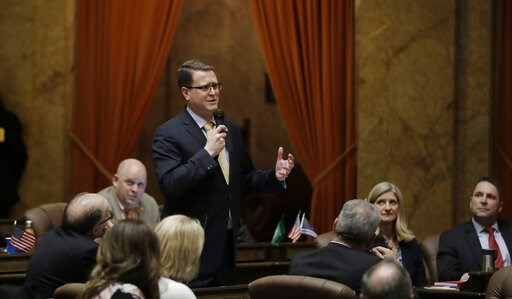 (AP Photo/Ted S. Warren). Rep. Matt Shea, R-Spokane, speaks Tuesday, April 9, 2019, on the House floor at the Capitol in Olympia, Wash., as lawmakers continued to work through the final month of the regular session of the Legislature.