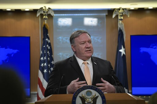 (AP Photo/Sait Serkan Gurbuz). Secretary of State Mike Pompeo speaks during a news conference on Monday, April 22, 2019, at the Department of State in Washington.