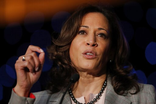 (AP Photo/Gerald Herbert). FILE - In this April 19, 2019, photo, Democratic presidential Candidate Sen. Kamala Harris, D-Calif., speaks at the Alpha Kappa Alpha Sorority South Central Regional Conference in New Orleans.
