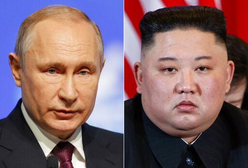 (AP Photo/Dmitri Lovetsky, Evan Vucci, File). FILE - This combination file photo, shows Russian President Vladimir Putin, left, in St. Petersburg, Russia, April 9, 2019, and North Korean leader Kim Jong Un in Hanoi, Vietnam, on Feb. 28, 2019. When Kim ...