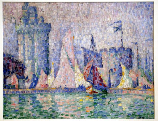 "(AP Photo/Efrem Lukatsky). The 1915 painting ""Port of La Rochelle"" by Paul Signac, stolen from the Museum of Fine Arts in Nancy, France last year, is seen at a briefing in Ukraine's Interior Ministry in Kiev, Ukraine, Tuesday, April 23, 2019."