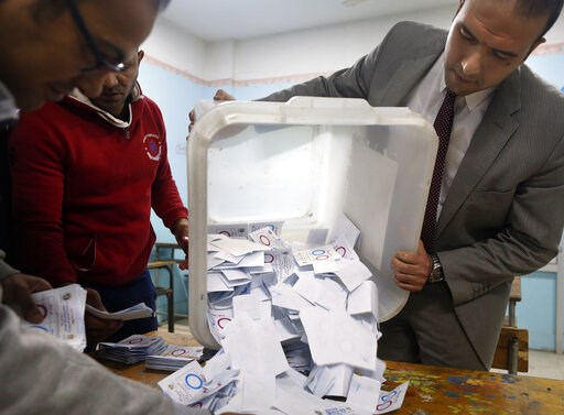 (AP Photo/Amr Nabil). Election workers count ballots at the end of three-day vote of the referendum on constitutional amendments at polling station in Cairo, Egypt, Monday, April 22, 2019. Egyptians are voting on constitutional amendments that would al...