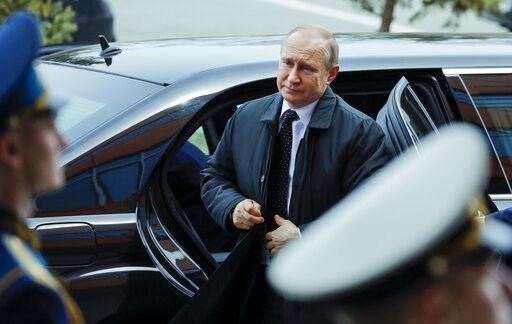 (AP Photo/Alexander Zemlianichenko). Russian President Vladimir Putin arrives to meet with North Korea's leader Kim Jong Un in Vladivostok, Russia, Thursday, April 25, 2019. Putin and Kim are set to have one-on-one meeting at the Far Eastern State Univ...