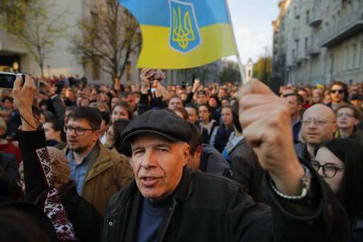 (AP Photo/Vadim Ghirda). Supporters of Ukrainian President Petro Poroshenko, who have come to thank him for what he did as a president, listen to his speech in Kiev, Ukraine, Monday, April 22, 2019. Political mandates don't get much more powerful than ...
