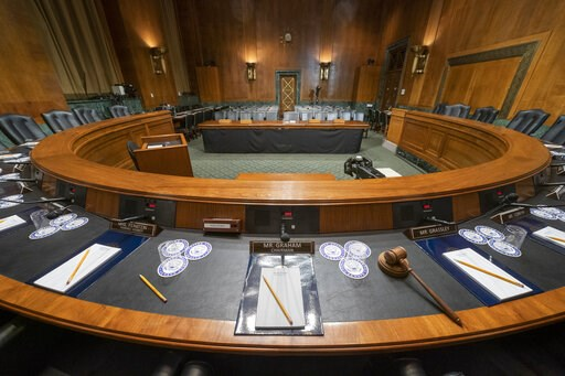 (AP Photo/J. Scott Applewhite). The Senate Judiciary Committee hearing room is prepared for Attorney General William Barr who will face lawmakers' questions Wednesday for the first time since releasing special counsel Robert Mueller's Russia report, on...
