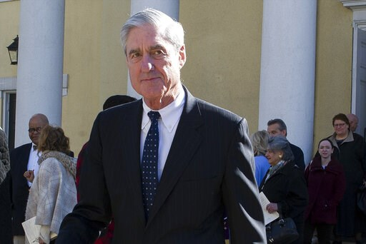 (AP Photo/Cliff Owen). FILE - In this March 24, 2019, file photo, special counsel Robert Mueller departs St. John's Episcopal Church, across from the White House in Washington.