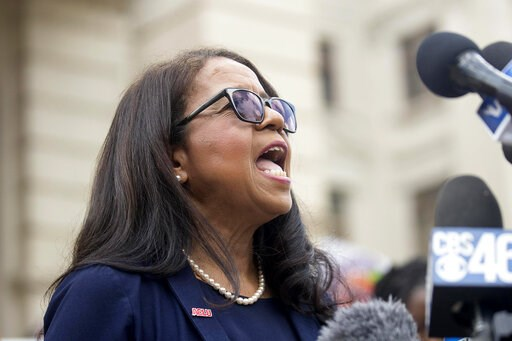 (Alyssa Pointer/Atlanta Journal-Constitution via AP). REMOVES ANTI ABORTION REFERENCE - Andrea Young, Executive director of American Civil Liberties  Union of Georgia, speaks during a rally against HB481 outside of the Georgia State Capitol building fo...