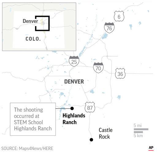 Map locates Highlands Ranch,Colorado where police report a school shooting.;