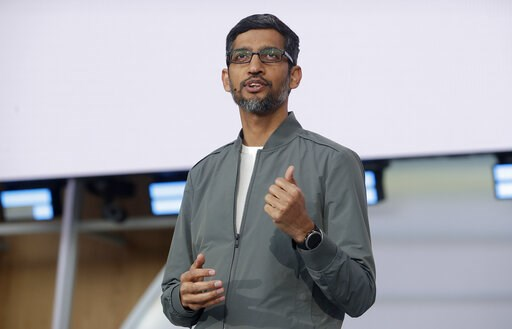 (AP Photo/Jeff Chiu). Google CEO Sundar Pichai speaks during the keynote address of the Google I/O conference in Mountain View, Calif., Tuesday, May 7, 2019.